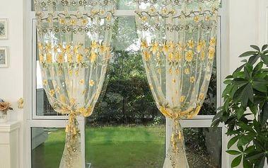 Záclona s květinovým motivem - 6 barev