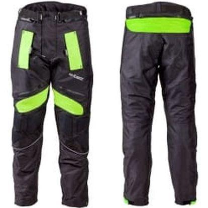 W-TEC W-TEC NF-2607 černo-zelené vel. XL pánské textilní moto kalhoty