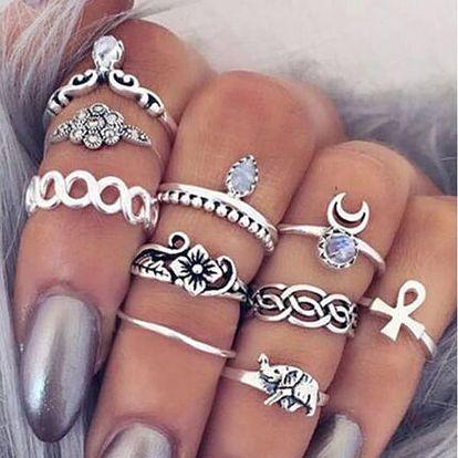 Sada vintage prstýnků ve stříbrné barvě - 10 kusů - dodání do 2 dnů