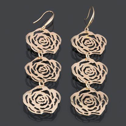 Fashion Icon Náušnice růže střední visací obecný kov rhodiovaný bez kamínku rostliny a květiny 0314