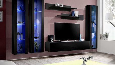 Obývací stěna FLY C2, černá matná/černý lesk