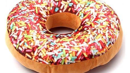 Kulatý polštářek v podobě zdobeného donutu