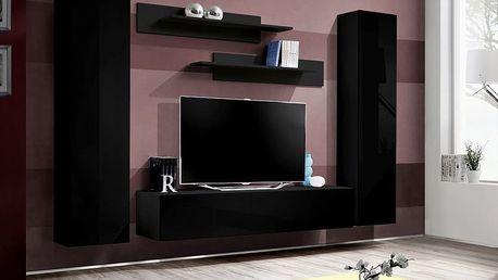 Obývací stěna FLY A1, černá matná/černý lesk
