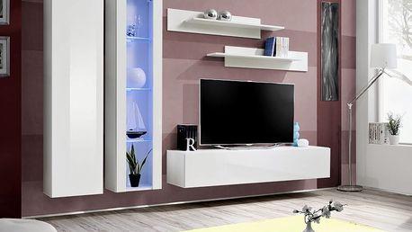 Obývací stěna FLY A4, bílá matná/bílý lesk