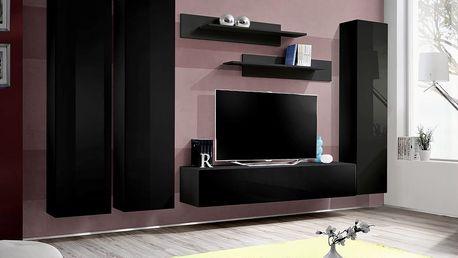 Obývací stěna FLY C1, černá matná/černý lesk
