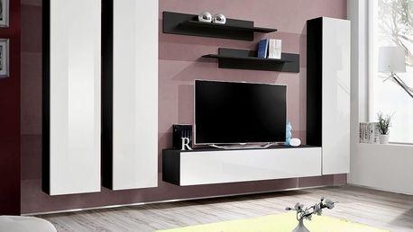 Obývací stěna FLY C1, černá matná/bílý lesk