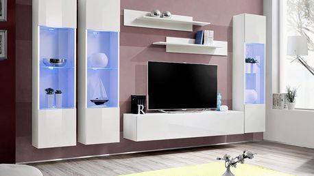 Obývací stěna FLY C3, bílá matná/bílý lesk