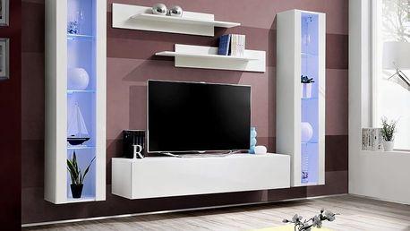 Obývací stěna FLY A2, bílá matná/bílý lesk