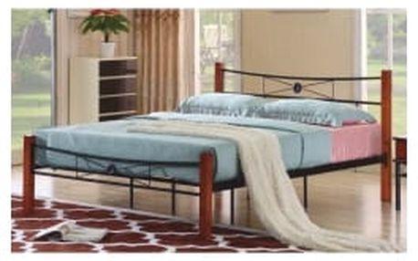 TEMPO KONDELA Amarilo vel. 160x200 manželská kovová postel s roštem, kov + dřevo-třešeň