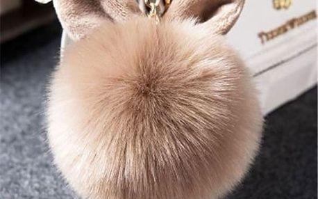 Chlupatý přívěšek na kabelku s oušky
