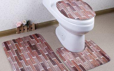 Třídílná sada koberečků do koupelny - Cihly - dodání do 2 dnů