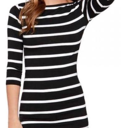 Černobílé šaty s proužky