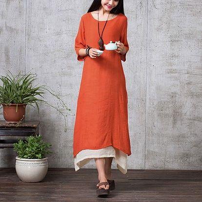 Dámské bavlněné maxi šaty v nadměrných velikostech - 3 barvy