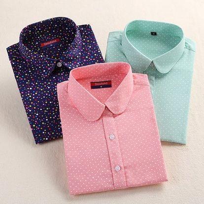 Dámská puntíkatá košile - dlouhý rukáv
