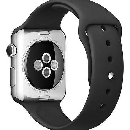 Apple Watch sportovní řemínek 42mm černý s ocelovým kolíčkem