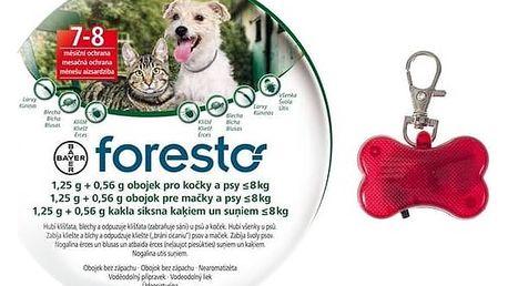Obojek Bayer Foresto 38 cm pro kočky a malé psy + svítící přívěšek Svítící přívěšek Bayer Foresto kost - červený (zdarma)