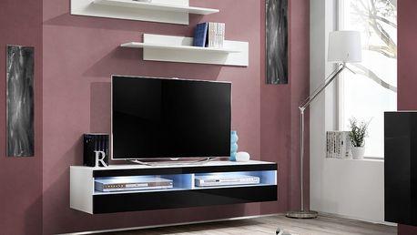 RTV stolek FLY 35, bílá matná/černý lesk