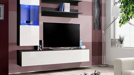 Obývací stěna FLY H3, černá matná/bílý lesk