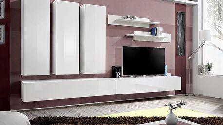 Obývací stěna FLY E1, bílá matná/bílý lesk
