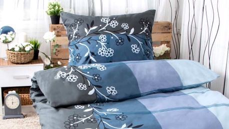 XPOSE ® Prodloužené bavlněné povlečení ADINA - modrá 140x220, 70x90