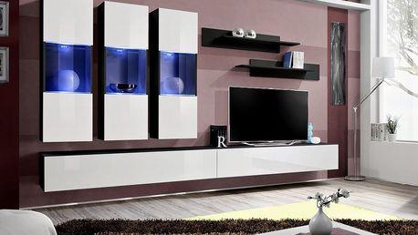 Obývací stěna FLY E2, černá matná/bílý lesk