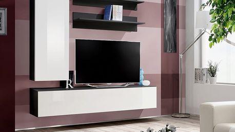 Obývací stěna FLY H1, černá matná/bílý lesk