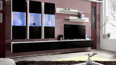 Obývací stěna FLY E2, bílá matná/černý lesk