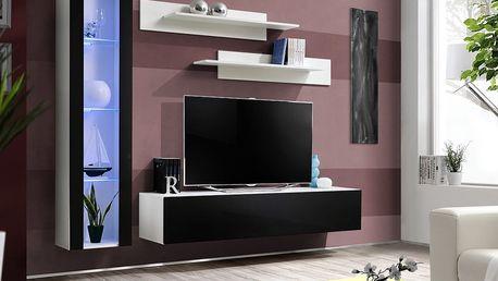 Obývací stěna FLY G2, bílá matná/černý lesk