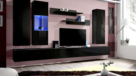 Obývací stěna FLY E5, černá matná/černý lesk