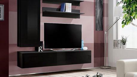 Obývací stěna FLY H1, černá matná/černý lesk