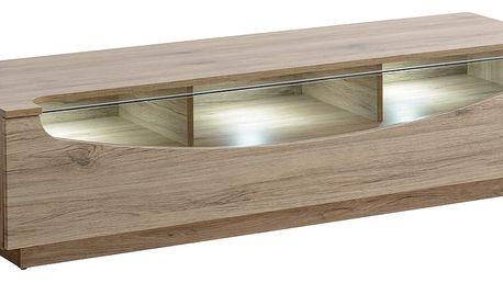RTV stolek MIDNIGHT T07, san remo/černé sklo + LED osvětlení