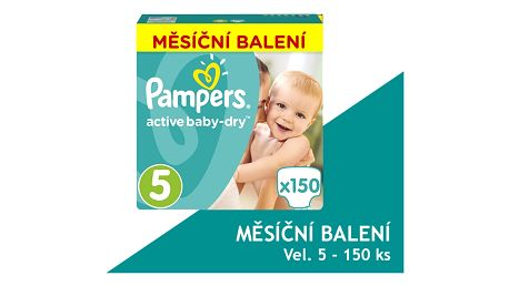 PAMPERS Active Baby 5 JUNIOR 150ks (11-18kg) MEGA Box PLUS, MĚSÍČNÍ ZÁSOBA - jednorázové pleny