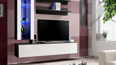 Obývací stěna FLY H2, černá matná/bílý lesk