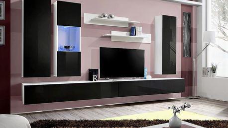 Obývací stěna FLY E5, bílá matná/černý lesk