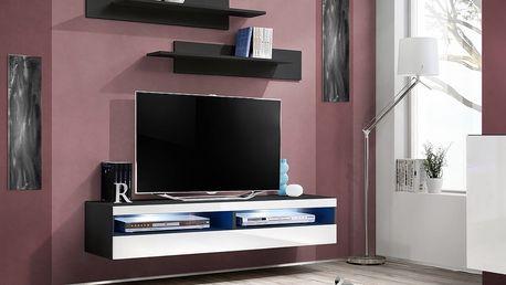 RTV stolek FLY 35, černá matná/bílý lesk