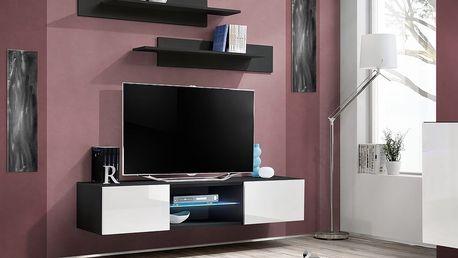 RTV stolek FLY 33, černá matná/bílý lesk