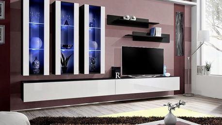 Obývací stěna FLY E3, černá matná/bílý lesk