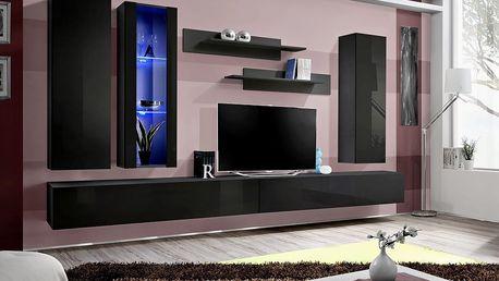 Obývací stěna FLY E4, černá matná/černý lesk