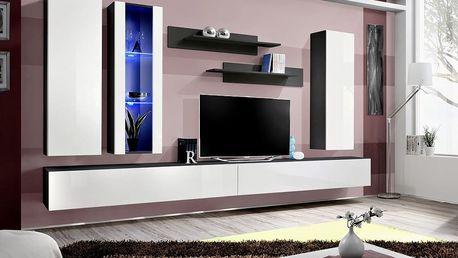 Obývací stěna FLY E4, černá matná/bílý lesk