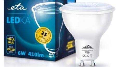 Žárovka LED ETA EKO LEDka bodová, 6W, GU10, teplá bílá (GU10-PR-410-16A) bílá