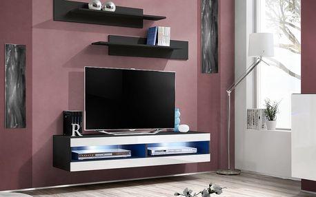 RTV stolek FLY 34, černá matná/bílý lesk