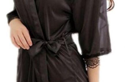 Lehký dámský župánek v černé barvě - dodání do 2 dnů