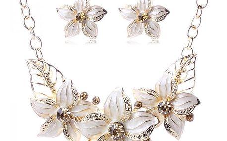 Květinový náhrdelník a náušnice - 12 barevných variant