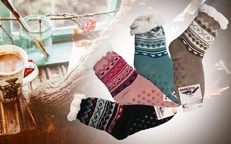 Zateplené ponožky s norským vzorem - Růžové