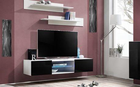 RTV stolek FLY 33, bílá matná/černý lesk