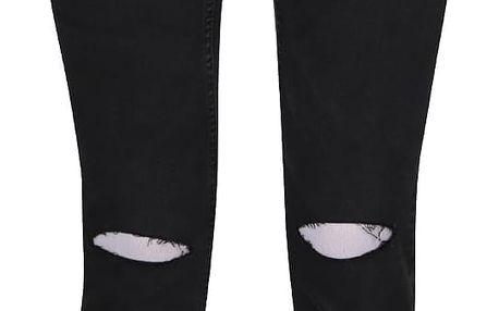 Tmavě šedé dámské skinny džíny s děravými koleny Cheap Monday