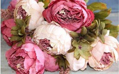 Umělá kytice pivoněk - 5 barev