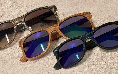 Sluneční brýle Wayfarer s dřevěným efektem