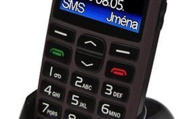 Mobilní telefon Aligator A680 + stojánek (A680T) titanium