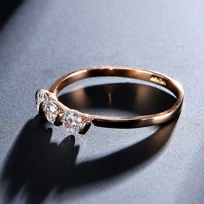Dámský prsten s kamínky ve 2 barvách